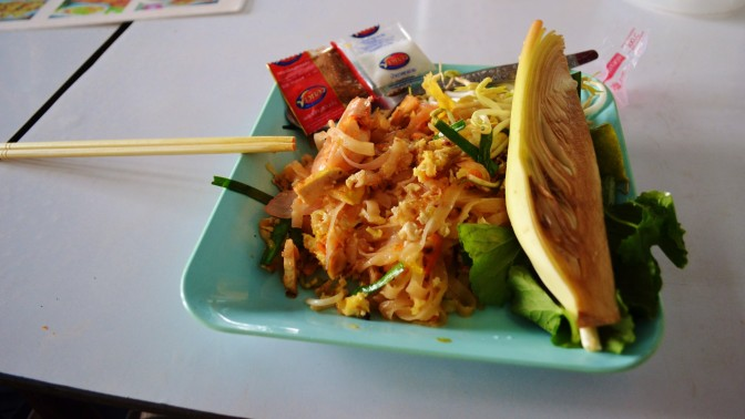 The pad thai with banana flower on the side