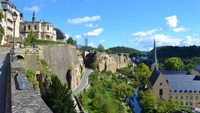 The Alzette River and city fortifications