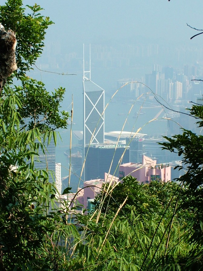 The natural surroundings of the Peak with the city below - this view from Lugard Road